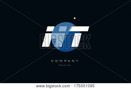 Ht H T  Blue White Circle Big Font Alphabet Company Letter Logo