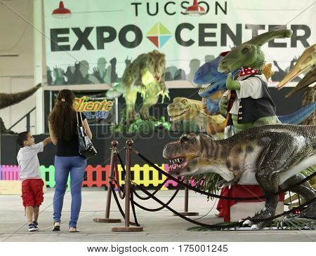 TUCSON, ARIZONA, FEBRUARY 20. The Tucson Expo Center on February 20, 2017, in Tucson, Arizona. A Mother and Son Tour T-Rex Planet at the Tucson Expo Center in Tucson, Arizona.