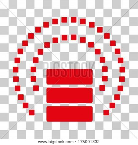 Database Sphere Shield icon. Vector illustration style is flat iconic symbol, red color, transparent background. Designed for web and software interfaces.