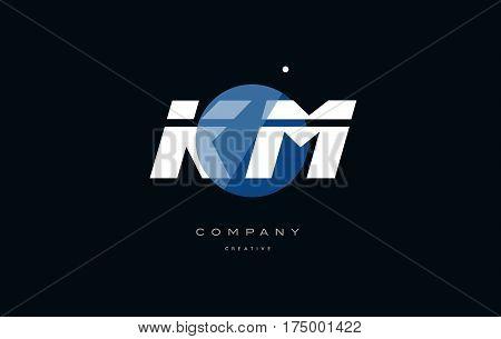 Km K M  Blue White Circle Big Font Alphabet Company Letter Logo