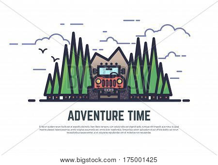 Line style 4x4 offroad color vector illustration. Retro style flat emblem of big wheel car in the woods and mountain clouds. Pixel perfect banner. Adventure time placard with text.