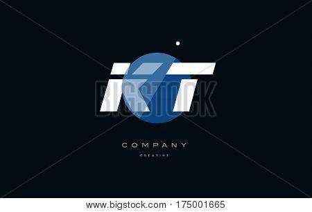 Kt K T  Blue White Circle Big Font Alphabet Company Letter Logo