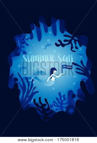 Summer sale poster. Mermaid and Dolphins in underwater world background. Marketing concept. Vector illustration.