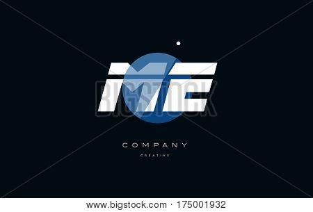 Me M E  Blue White Circle Big Font Alphabet Company Letter Logo