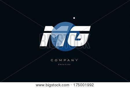 Mg M G  Blue White Circle Big Font Alphabet Company Letter Logo