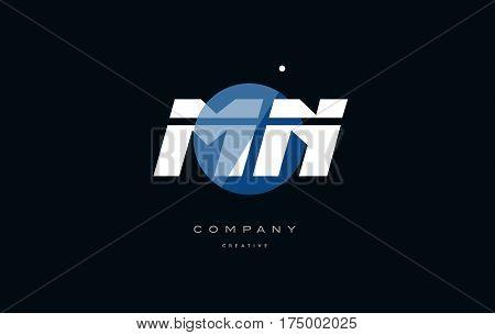 Mn M N  Blue White Circle Big Font Alphabet Company Letter Logo