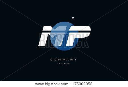 Mp M P  Blue White Circle Big Font Alphabet Company Letter Logo