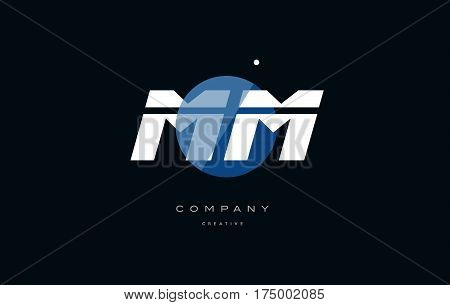 Mm M M  Blue White Circle Big Font Alphabet Company Letter Logo