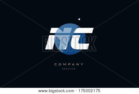 Nc N C  Blue White Circle Big Font Alphabet Company Letter Logo
