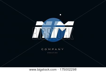 Nm N M  Blue White Circle Big Font Alphabet Company Letter Logo
