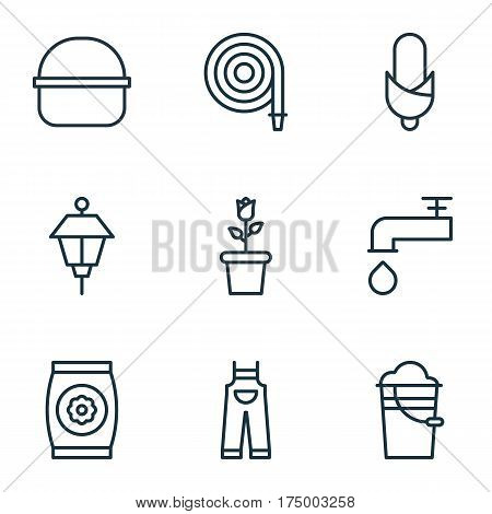Set Of 9 Plant Icons. Includes Maize, Spigot, Package And Other Symbols. Beautiful Design Elements.