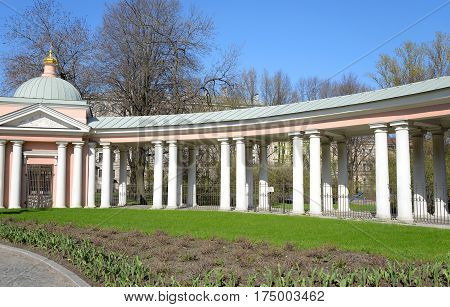 Colonnade of Church of Saints Cyril and Methodius at sunny day in St.Petersburg Russia.