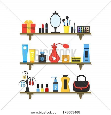 Woman's icons set. Girl accessories jewelry perfume mirror cosmetics on shelves. Make-up things modern flat design. Background for business flyer card poster. Vector illustration on white
