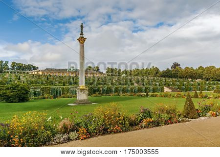 view from park to Sanssouci Palace and the terrace vineyards Potsdam Germany