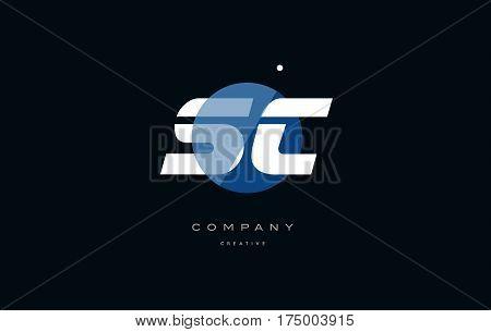 Sc S C  Blue White Circle Big Font Alphabet Company Letter Logo