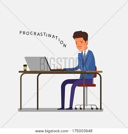 Concept of procrastination. Bored office worker procrastinating behind his desk. Flat design, vector illustration.