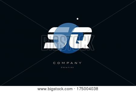Sq S Q  Blue White Circle Big Font Alphabet Company Letter Logo