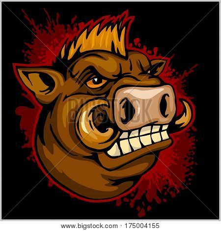 wild boar head mascot - on dark background - vector illustration