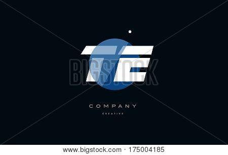 Te T E  Blue White Circle Big Font Alphabet Company Letter Logo