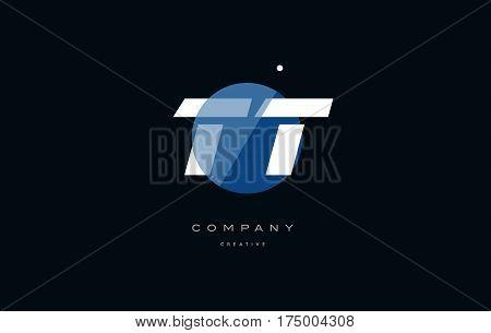 Tt T  Blue White Circle Big Font Alphabet Company Letter Logo