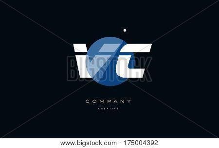 Vc V C  Blue White Circle Big Font Alphabet Company Letter Logo
