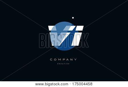 Vi V I  Blue White Circle Big Font Alphabet Company Letter Logo