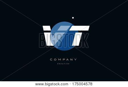Vt V T  Blue White Circle Big Font Alphabet Company Letter Logo