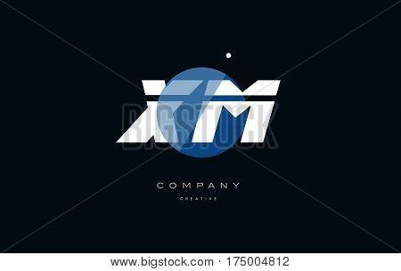 Xm X M  Blue White Circle Big Font Alphabet Company Letter Logo