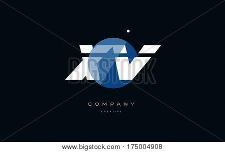 Xv X V  Blue White Circle Big Font Alphabet Company Letter Logo