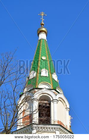Belfry of the Resurrection Novodevichy Monastery at sunny day in St.Petersburg Russia.