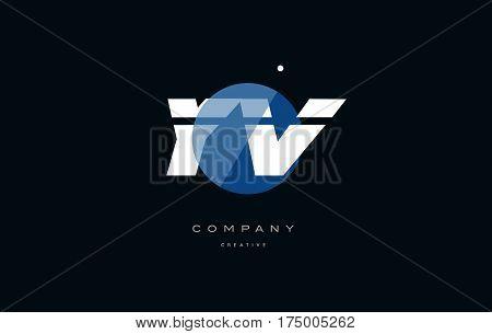 Yv Y V  Blue White Circle Big Font Alphabet Company Letter Logo