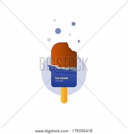 Chocolate glazing ice cream on stick with bite mark, lolly popsicle, delicious dessert, vector flat design illustration