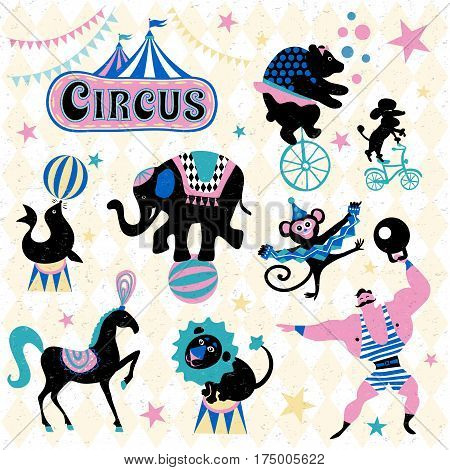 Circus traveling chapiteau retro cartoon icons collection. Circus logo tent, trained wild animals performance vector illustration