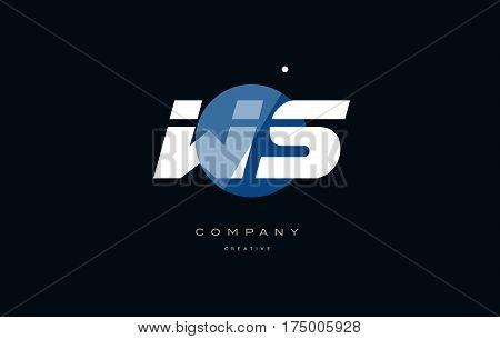 Ws W S  Blue White Circle Big Font Alphabet Company Letter Logo
