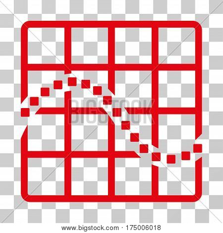 Function Chart icon. Vector illustration style is flat iconic symbol, red color, transparent background. Designed for web and software interfaces.