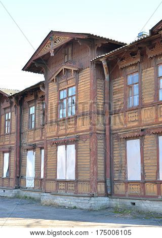 Old wooden building at sunny day in center of St.Petersburg Russia.