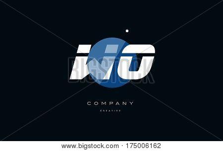 Wo W O  Blue White Circle Big Font Alphabet Company Letter Logo