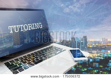 TUTORING: Grey computer monitor screen. Digital Business and Technology Concept. Double Exposure Effects.