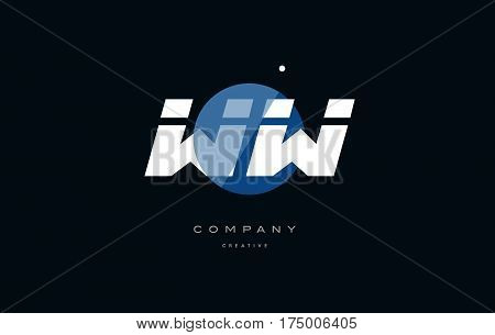 Ww W  Blue White Circle Big Font Alphabet Company Letter Logo