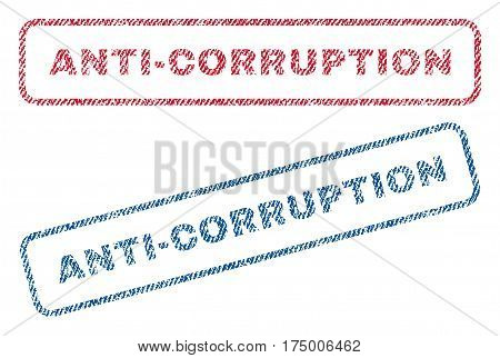 Anti-Corruption text textile seal stamp watermarks. Blue, red fabric vectorized texture. Vector tag inside rounded rectangular banner. Rubber emblem with fiber textile structure.