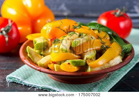 Warm Salad Of Roast Courgette And Peppers.