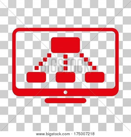 Hierarchy Monitor icon. Vector illustration style is flat iconic symbol, red color, transparent background. Designed for web and software interfaces.