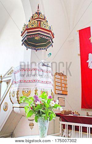 KHUST, UKRAINE - MAY 09, 2013: Interior of reformed Church (Elizabethan church XIII c.), Khust, Ukraine