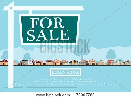 For sale sign in front of cute houses in flat building style. background in blue pastel colors. country views with trees and shrubs. real estate purchase. vector illustration