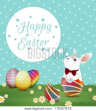 Little white bunny with red bow in easter egg shell and two easter eggs on green grassland with greeting word and polka dot Background. Vector illustration.