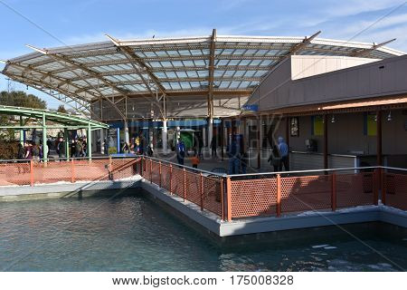 MYSTIC, CT - FEB 18: Mystic Aquarium in Connecticut, as seen on Feb 18, 2017. The Aquarium is one of three US facilities holding Steller sea lions and it has the only beluga whales in New England.