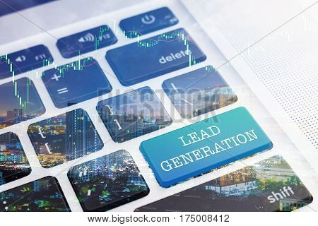 LEAD GENERATION : Green button keyboard computer. Double Exposure Effects. Digital Business and Technology Concept.