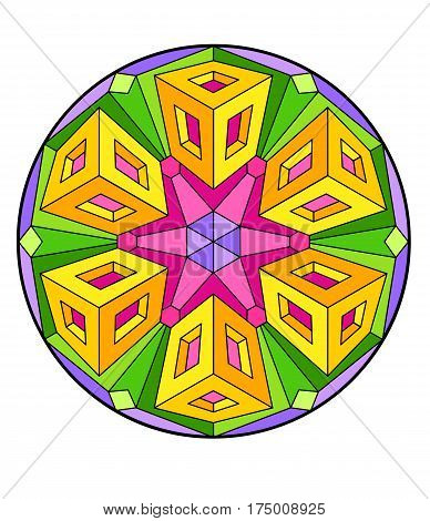 Kaleidoscopic design in Sixties Modern style, op art mandala