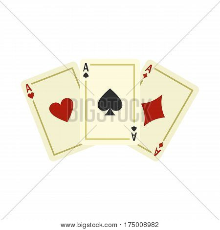 Aces playing cards icon isolated on white background vector illustration