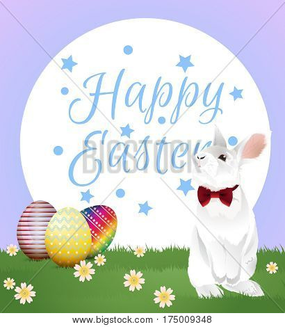 Little white bunny with red bow and easter eggs on green grassland with greeting word. Vector illustration.